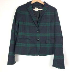 GAP Academy Blazer 8 green plaid Wool blend o614